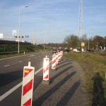 The bus stop towards Leusden. Interestingly enough, while the stop is unused since december 15th, 2013, pylons closing it appeared in the two weeks before my March 20 visit, as I visited this stop before on March 7th, and it was still open to traffic then.