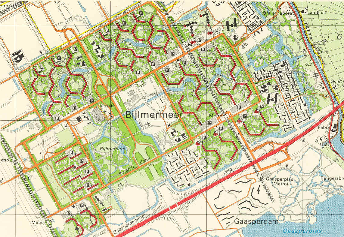 Topographical map of the Bijlmermeer from 1980.